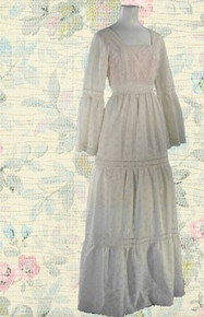 Early 70s white lace prairie dress with bell sleeves