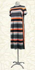 Striped day dress - late 60s