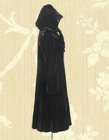 Exquisite silk velvet hooded opera coat