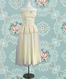 Ivory 1950s satin tulle dress