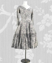 Print silk 1950s day dress
