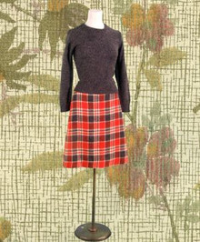 1960's co-ed plaid skirt & sweater set
