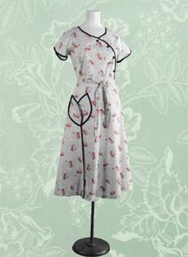 1940s Cotton print house dress