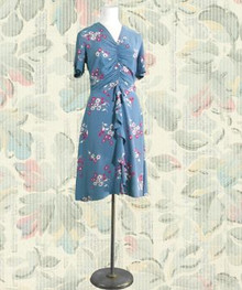 1940s Blue rayon dress