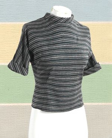 1950s black and gray striped top