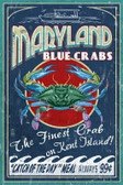 Blue Crab Vintage Sign 12x18 Print