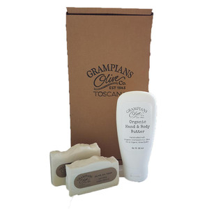 Organic olive oil skincare gift set - hand and body butter, olive oil soaps