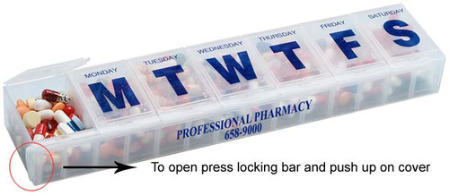 Imprinted 7 Day One time a day lockable pillbox organizer