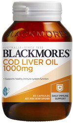 Blackmores Cod Liver Oil 1000mg is a source of vitamins A and D and omega-3 fatty acids. Vitamin A helps to support a healthy immune system, and vitamin D is essential for calcium absorption.