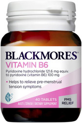 Blackmores Vitamin B6 100mg relieves premenstrual symptoms such as fluid retention, breast pain and nausea