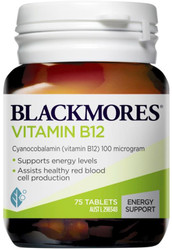 Blackmores Vitamin B12 100mcg helps maintain normal blood and may be required to reduce the risk of deficiency in people on strict vegetarian diets