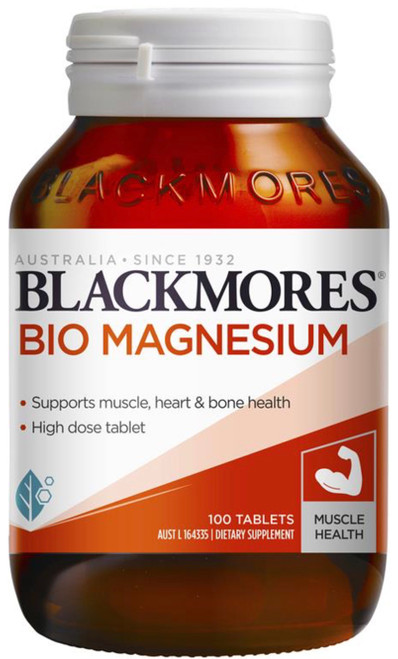 Blackmores Bio Magnesium is a high dose tablet to reduce muscle cramps, tension and stiffness and supports heart, bone and nervous system health.