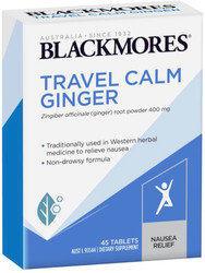 Blackmores Travel Calm Ginger taken prior to travelling, ginger may ease the symptoms of nausea and vomiting associated with motion sickness, morning sickness, and hyperemesis gravidum (severe vomiting and nausea of pregnancy)