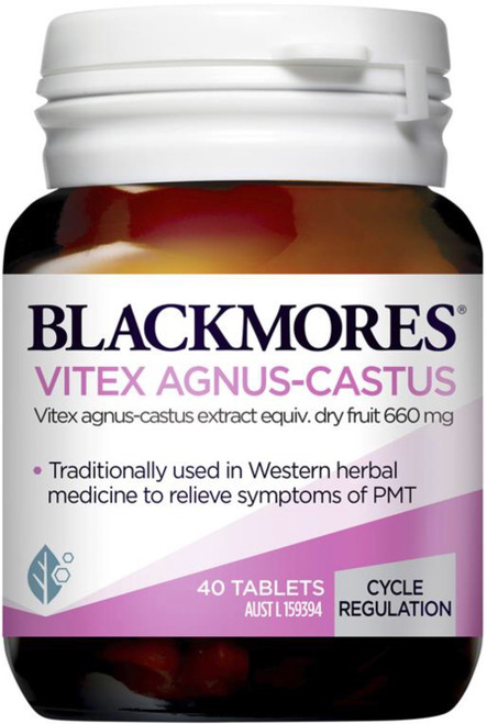 Blackmores Vitex Agnus-Castus relieves premenstrual symptoms, PMT breast pain and maintains hormonal balance with Vitex agnus castus