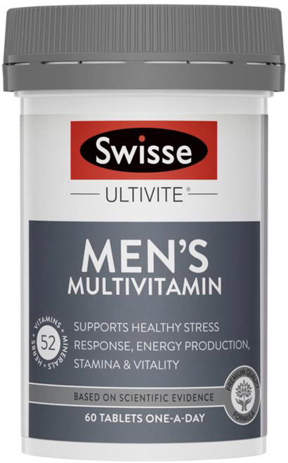 Swisse Men's Ultivite Multivitamin Mineral and Antioxidant with Herbs assists peak performance and well being