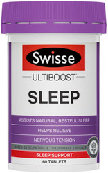 Swisse UltiBoost Sleep 60 tabs promotes calmness and relaxation and to assist in relieving nervous tension and promoting natural, restful sleep