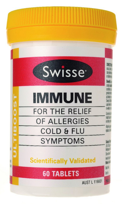 Swisse UltiBoost Immune may provide relief from the symptoms associated with allergies, colds and flu such as blocked or runny nose, dry cough and mucous congestion