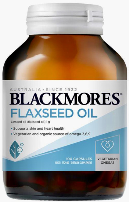 Blackmores Flaxseed Oil 1000mg is a source of beneficial omega-3, 6 and 9 fatty acids, to reduce inflammation, contribute to a healthy heart and cardiovascular system and for healthy skin and hair