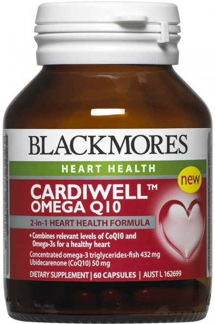 Blackmores CardiWell Omega Q10 is a convenient two-in-one formula for a healthy heart, containing doses of Omega-3s and CoQ10 to support healthy functioning of the heart