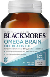 Blackmores Omega Brain High DHA Fish Oil highly concentrated omega-3s to promote brain performance and brain health