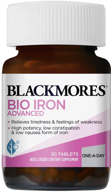 Blackmores Bio Iron Advanced is a low constipation iron formulation which reduces fatigue and tiredness caused by low dietary iron intake