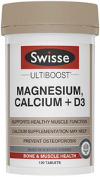 Swisse Ultiboost Magnesium, Calcium + D3 supports healthy muscle function and provides a source of calcium for prevention and treatment of osteoporosis