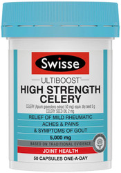 Swisse Ultiboost High Strength Celery 5000mg is a premium quality formula containing celery seed to assist with mild rheumatic aches and symptoms of gout.