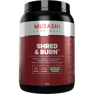 Musashi Shred and Burn Protein Chocolate promotes fat burning and builds lean muscle