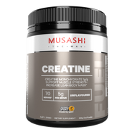 Musashi Creatine Monohydrate promotes Power Energy and Muscle Gain - Specially designed for high performance athletes to aid recovery after a punishing workout.