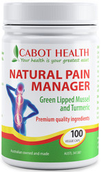 Cabot Health Natural Pain Manager contains Green Lipped Mussel and Turmeric to relieve mild arthritic pain and stiffness and maintain joint mobility.