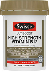 Swisse Ultiboost Vitamin B12 1000mcg High Strength supports energy production, red blood cell formation,brain function