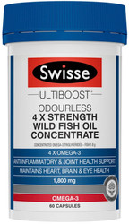 Swisse UltiBoost Wild Fish Oil Concentrate Odourless 4 X Strength contains scientifically validated, premium quality concentrated 34:24 Omega-3