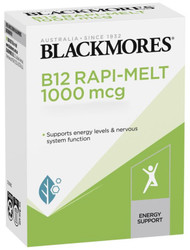 Blackmores B12 Rapi-Melt supports energy production,nerve function,brain function