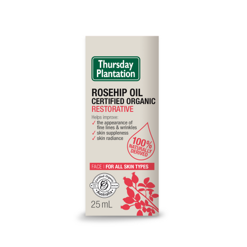 Thursday Plantation Rosehip Oil - restore radiant healthy looking skin with this certified organic Rosehip Oil
