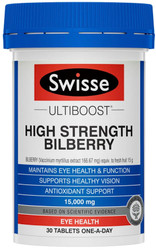 Swisse Ultiboost Bilberry High Strength supports eye health and antioxidant support