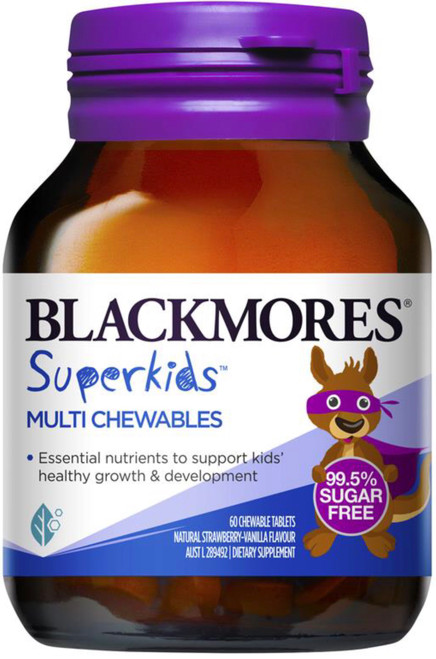Blackmores Superkids Multi Chewables - sugar free formulation, 12 essential nutrients to support kids growth