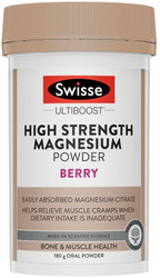 Swisse UltiBoost Magnesium High Strength Powder Berry helps reduce muscle cramps and spasms, supports a healthy nervous system and assists healthy immune function
