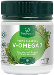 Lifestream V-Omega 3 high strength DHA product with EPA and plant derived Vitamin D for healthy bones,moods,immunity