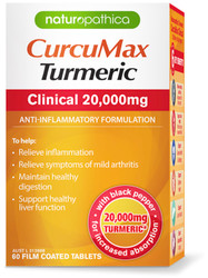 Naturopathica CurcuMax Turmeric Clinical 20000mg combines the anti-inflammatory power of curcumin plus black pepper for osteoarthritic joint inflammation