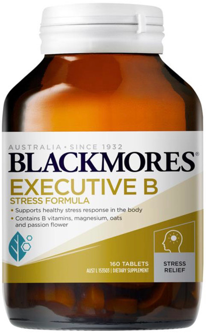 Blackmores Executive B Stress Formula is a vitamin and mineral supplement containing herbs for physical and emotional stress