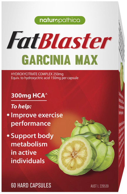 Naturopathica FatBlaster Garcinia Max contains Garcinia Cambogia to improve exercise performance and maintain a healthy body weight