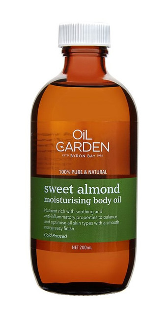 Oil Garden Sweet Almond Moisturising Body Oil is an enriching oil  that is suitable for moisturising skin, massage and aromatherapy blending. An all time favourite used by massage therapists.