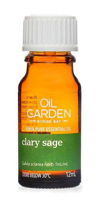 Oil Garden Clary Sage Pure Essential Oil restores clarity, clears nervous anxiety and confusion. Also useful for: Muscular cramps and pre-menstrual cramps.