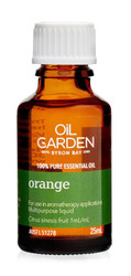 Oil Garden Orange Pure Essential Oil promotes self-confidence, courage and creativity and for: Colds, coughs, muscular cramps and spasms.