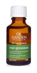 Oil Garden Rose Geranium Pure Essential Oil is refreshing and calming to the senses for Acne, bruises, eczema, pre-menstrual symptoms.