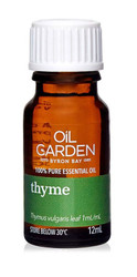Oil Garden Thyme Pure Essential Oil is stimulating, energising and encouraging for for Laryngitis, cold and flu, cough, muscular cramps and spasms.