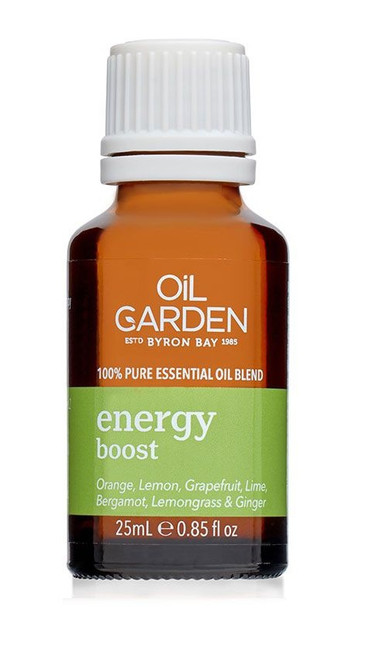 Oil Garden Energy Boost Essential Blend Oil - the invigorating effects of Sweet Orange, Lemon, Grapefruit, Lime, Bergamot and Lemongrass essential oils to revive and uplift when feeling weary and suffering from mental fatigue, with the stimulating action of Ginger to energise and sharpen the senses.