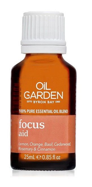 Oil Garden Focus Aid Essential Blend Oil - The clarifying effects of Lemon, Orange, Basil, Cedarwood, Rosemary & Cinnamon to improve focus, concentration, attention span and alertness, with Sweet Orange essential oil as a nerve tonic to help revitalise when lacking in energy.