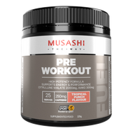 Musashi Pre-Workout Energy & Performance Tropical Punch with BCAAs is designed to challenge your training and workouts