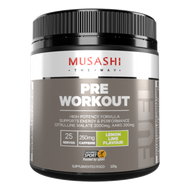 Musashi Pre-Workout Energy & Performance Lemon Lime with BCAAs is designed to challenge your training and workouts